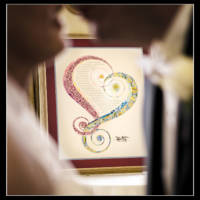 Ketubah with couple in foreground