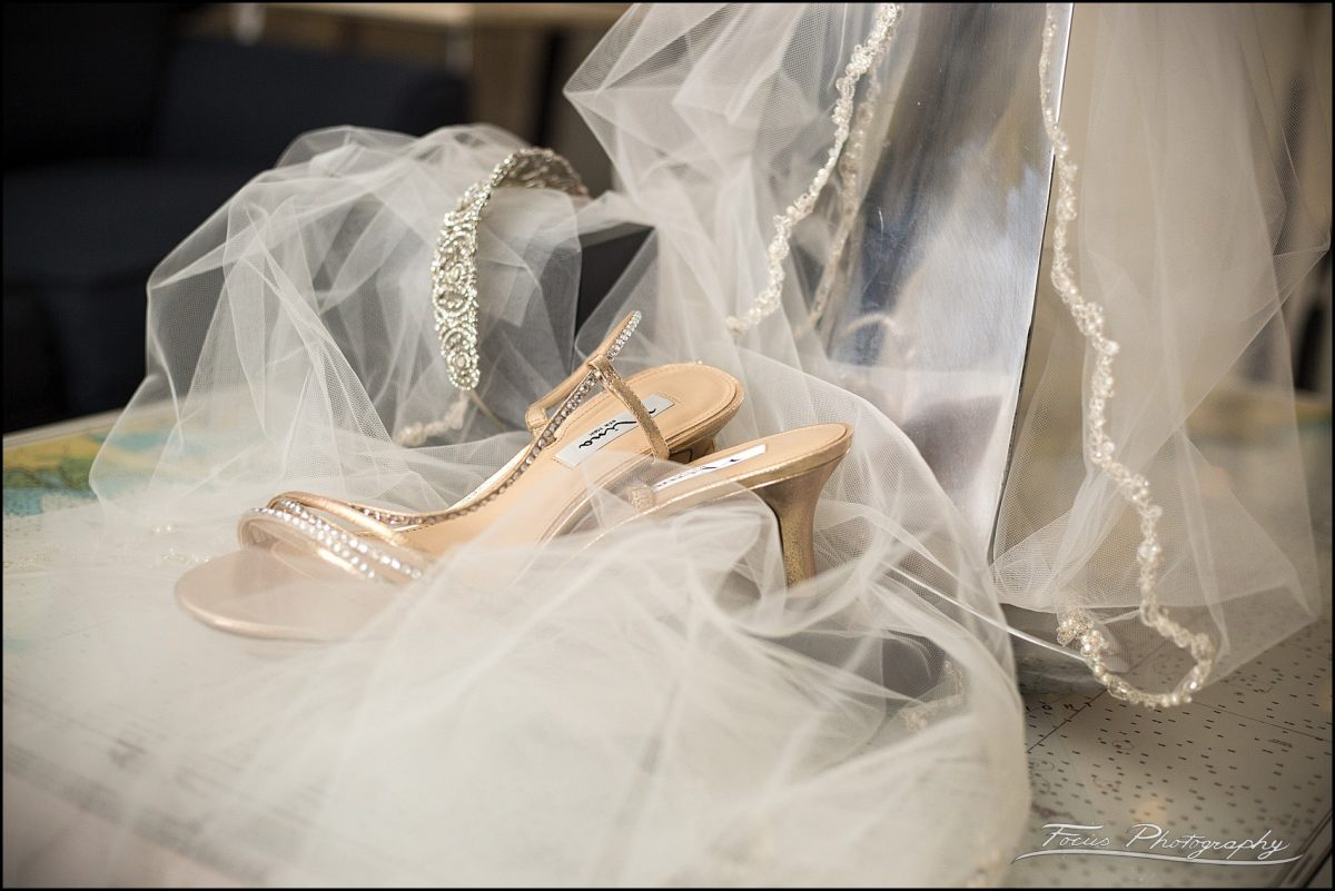 shoes, veil, tiara, and wedding details from Wentworth by the Sea Wedding