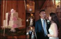 wedding cake suspended from beam