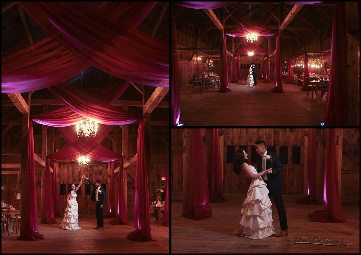 Bride and Groom dance inside the barn