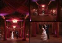 Bride and Groom dance inside the barn