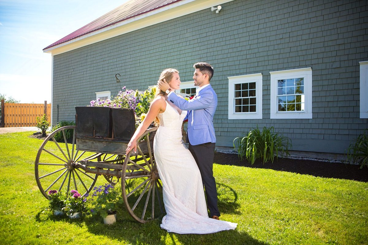 bride and groom by antique carriage at river winds farm