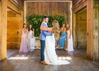 024 Riverwinds farm wedding - I love these bridesmaids for their enthusiasm for this first dance picture!