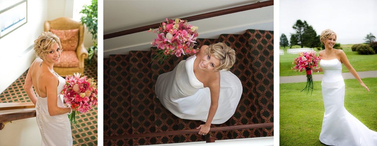 bride in  Samoset resort wedding photos