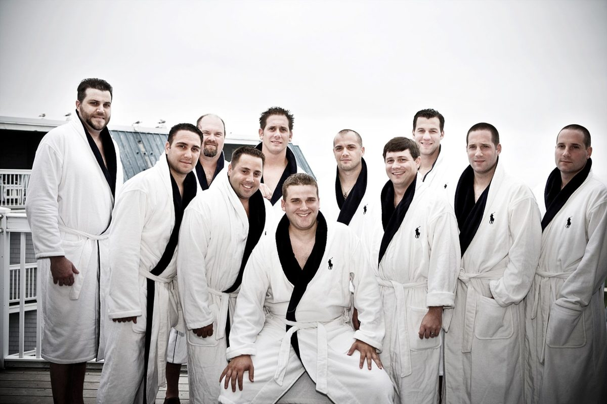 Groom' and men getting ready in matching robes - Samoset resort wedding
