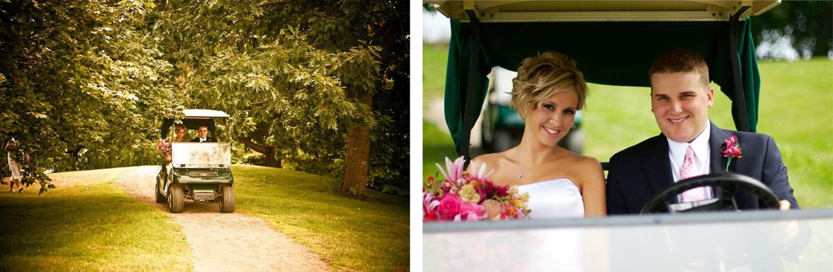 couple driving a golf cart on wedding
