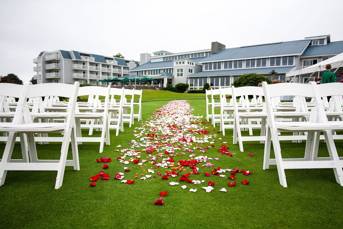 wedding aisle and rose petals at Samoset resort