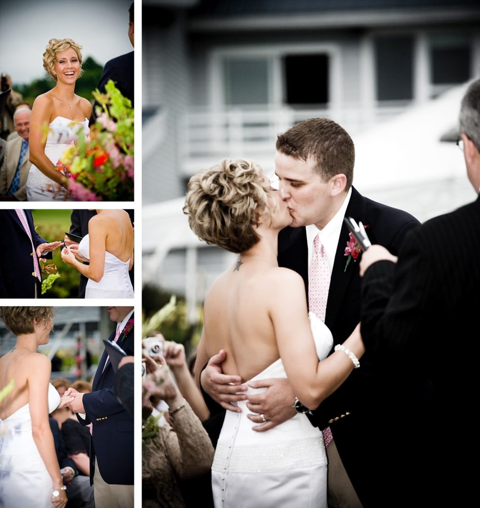 wedding vows and kiss at samoset
