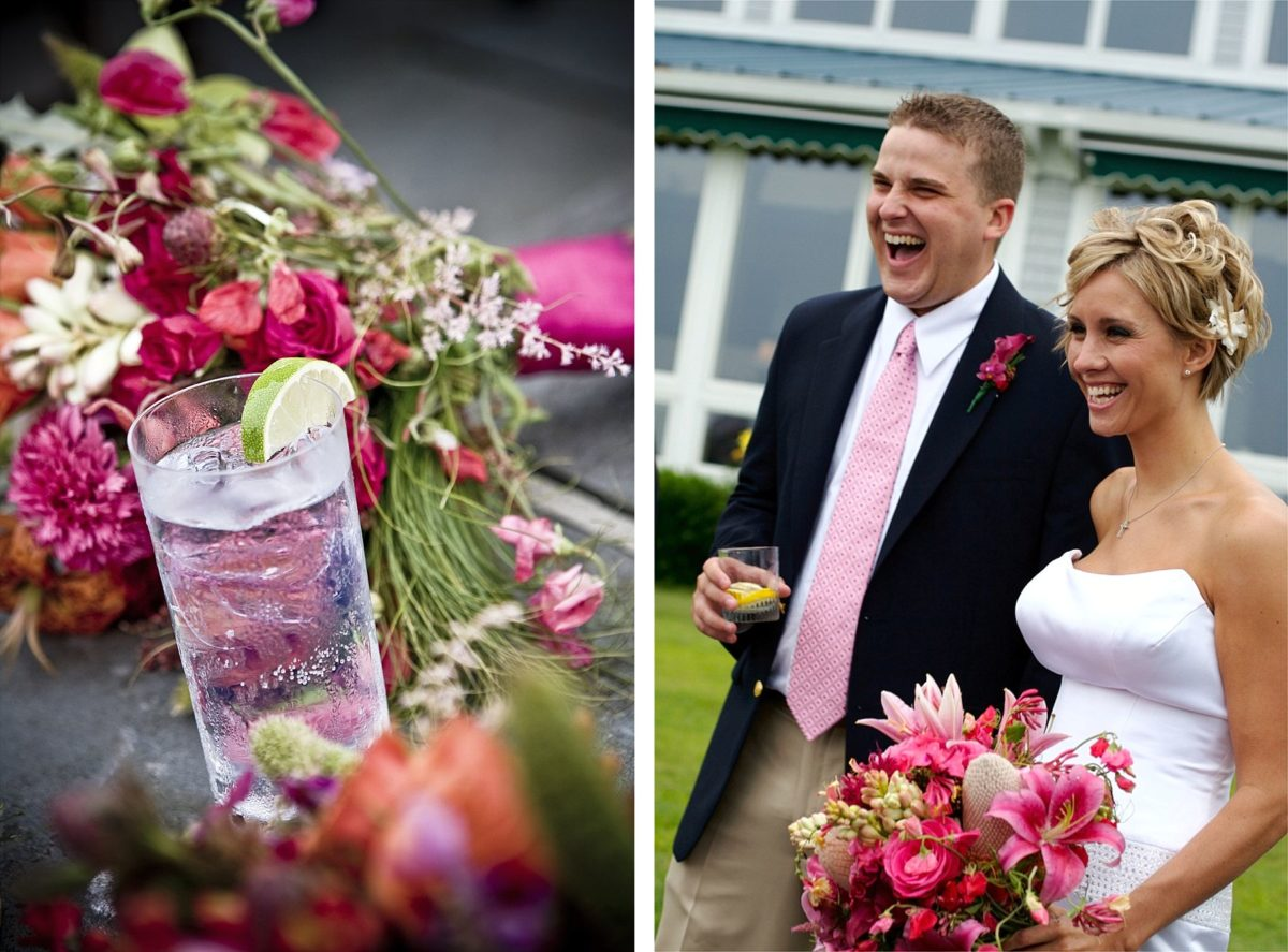 bride and groom at cocktail hour at samoset resort wedding
