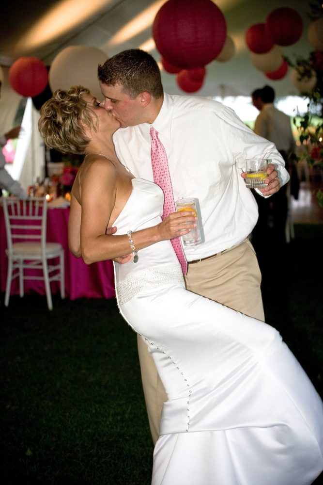 kiss in the wedding tent at samoset resort