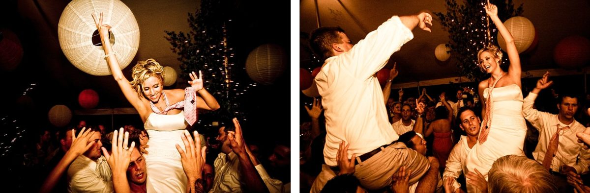 bride and groom on shoulders as dancing gets crazy