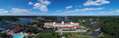 Aerial view of the Wentworth by the Sea taken by drone on the wedding day.