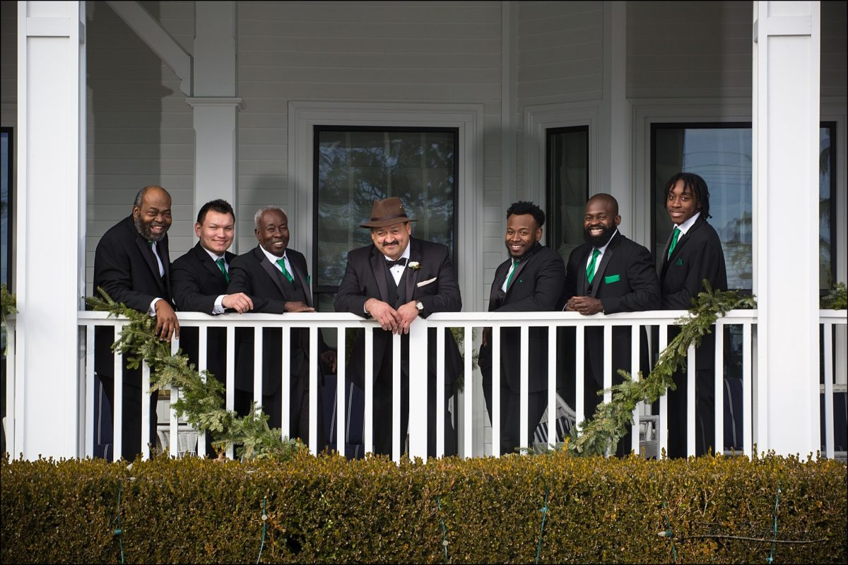 groomsmen at Christmas wedding at Wentworth by the Sea