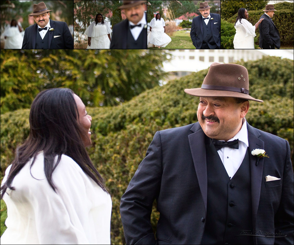 first look at Christmas wedding at Wentworth by the Sea