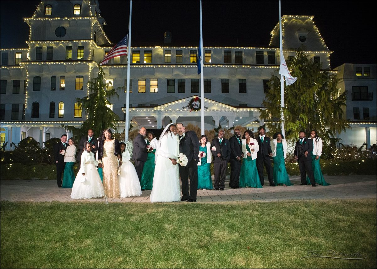 bridal party at Christmas wedding at Wentworth by the Sea