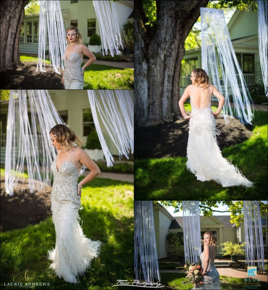 bride in flapper style wedding dress