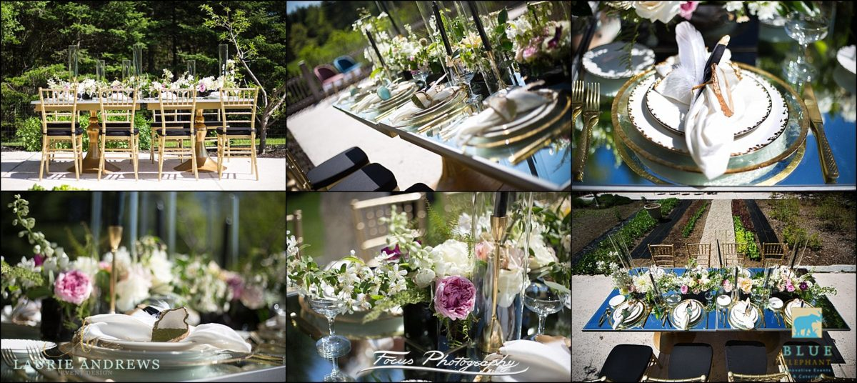 table decor on mirrored dining table outdoors