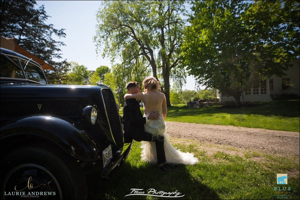wedding couple at mowfield farm in cumberland, maine