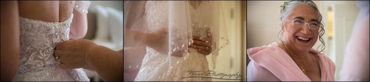 mother of the bride gets bride dressed