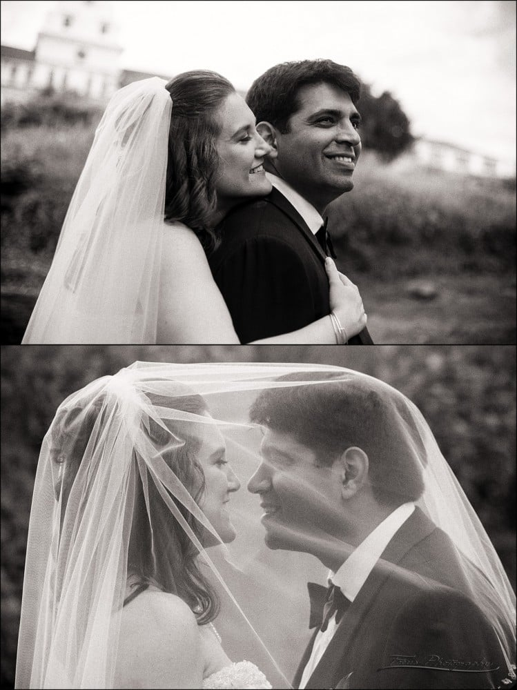 black and white photos of bride and groom at Wentworth by the sea hotel