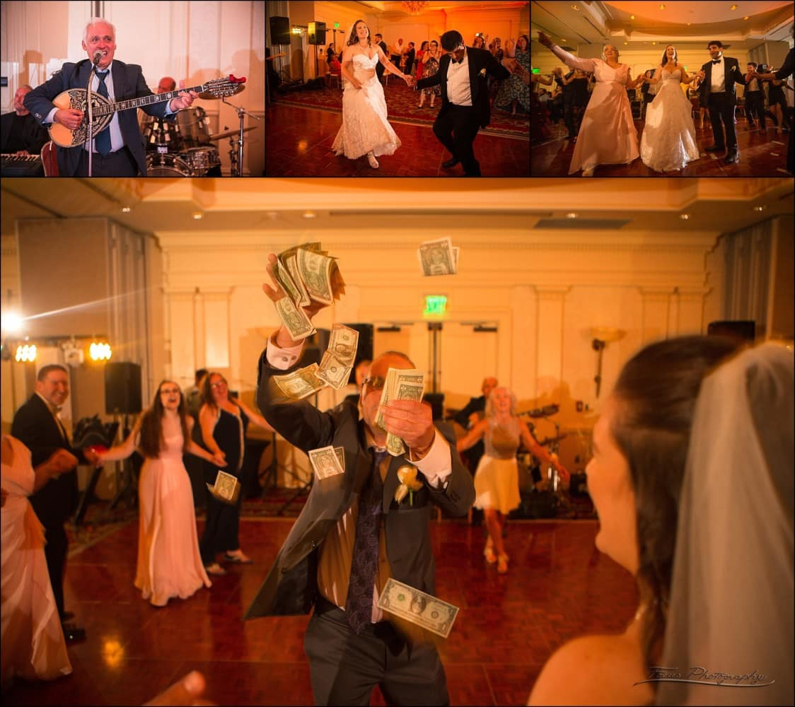 a Greek tradition is covering the bride and groom with money during the dances
