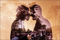 A double exposure of the couple and their ceremony