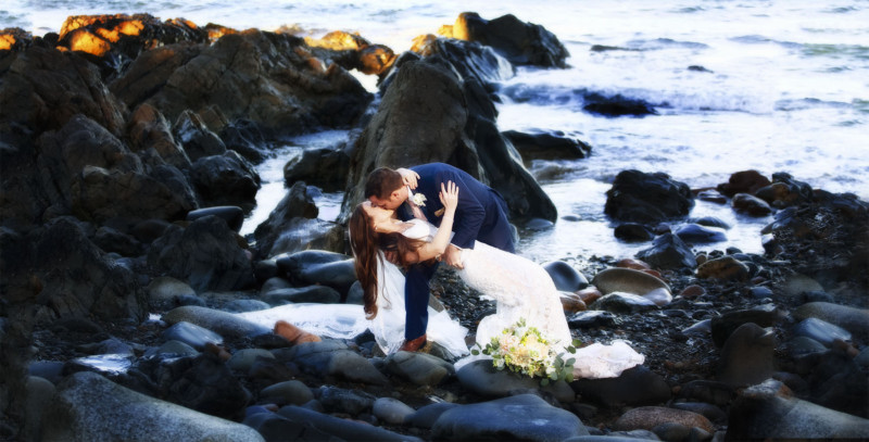 formal portraits of wedding couple at beach