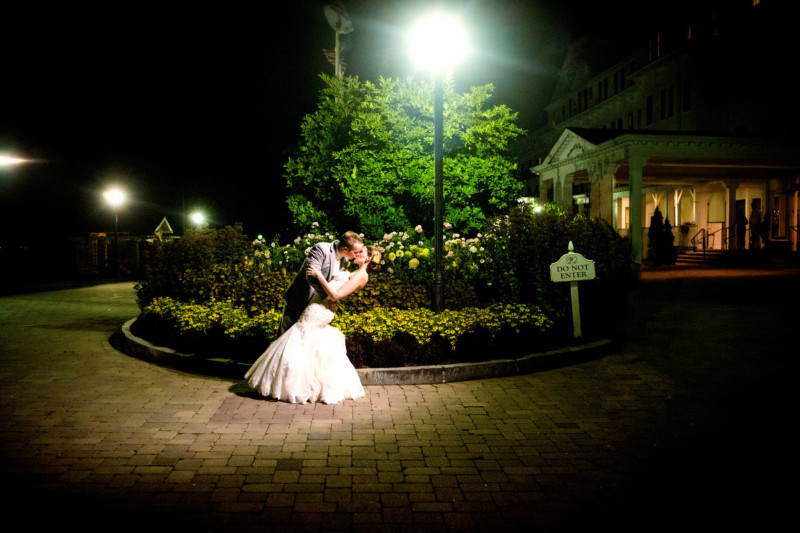 Wedding couples portraits at end of night
