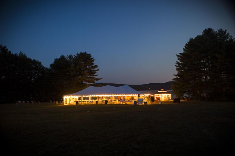 Evening falls on this backyard wedding at Lake Provence, NH
