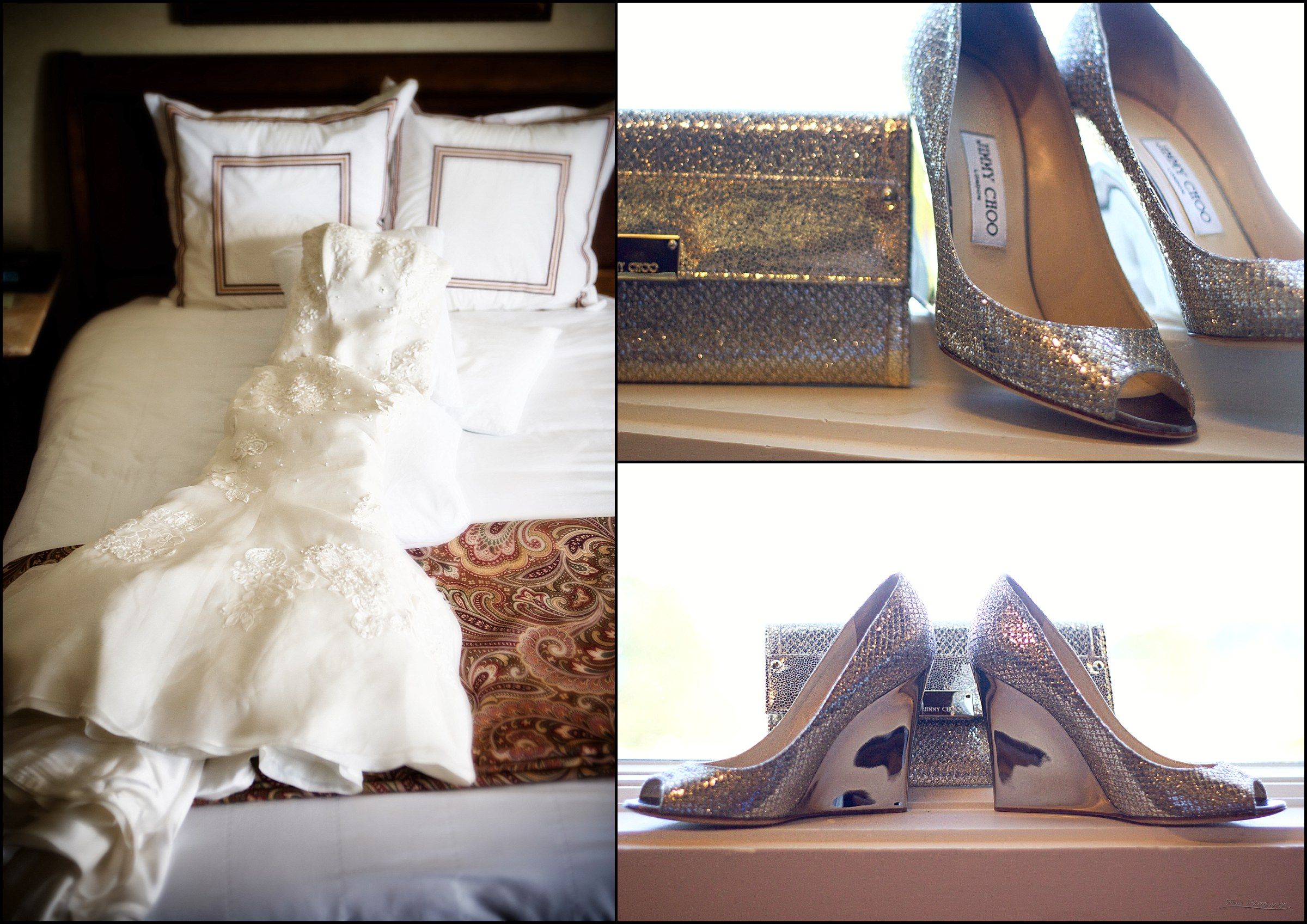 wedding gown and jimmy choo shoes and purse