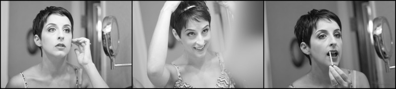 bride preparing in mirror