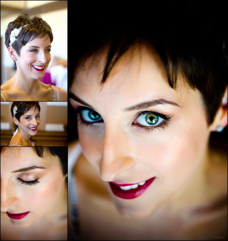 tight shots of bride and wedding makeup