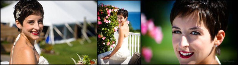 bride on porch by tent at samoset wedding