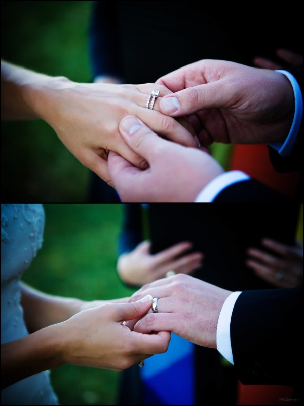 exchange of rings at wedding ceremony
