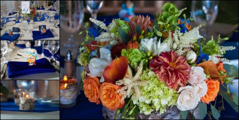 table settings and flower arrangements at samoset wedding