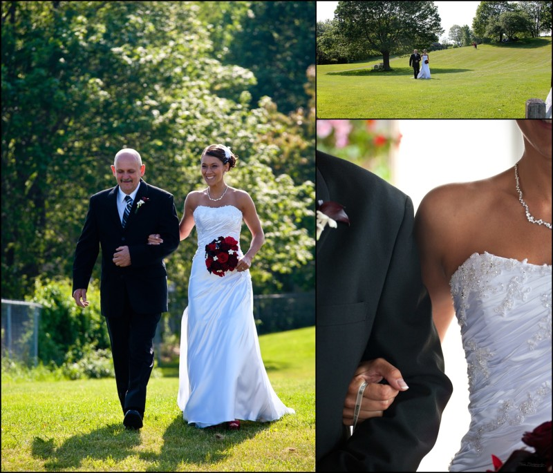 father of bride walks her down to ceremony
