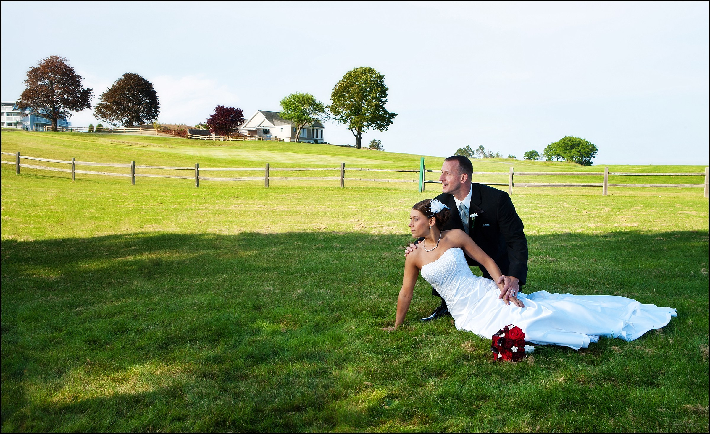 bride and groom on lawn at samoset