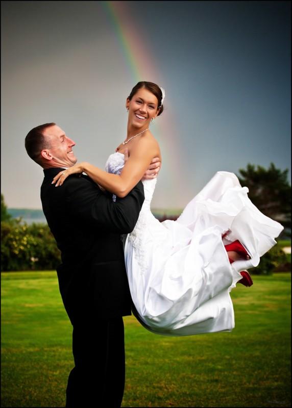 rainbow and couple on golf course