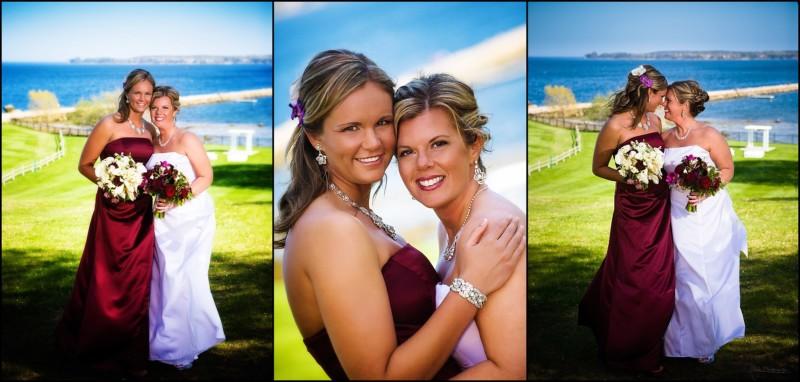 two brides at same sex wedding at Samoset Resort