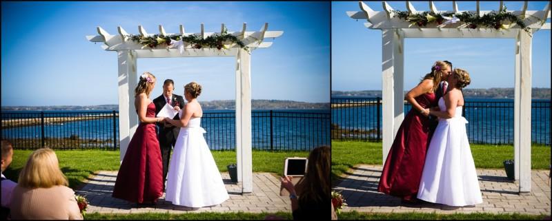two brides exchanging wedding vows at Samoset resort