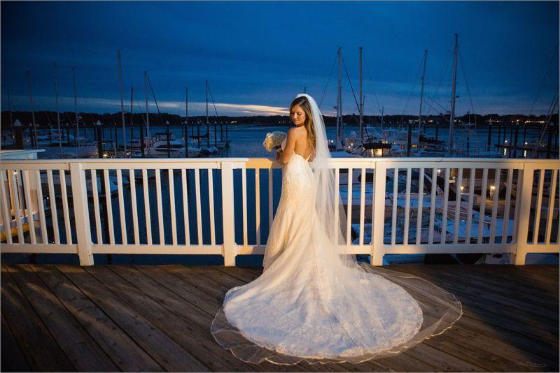 bride on wedding day at the marina