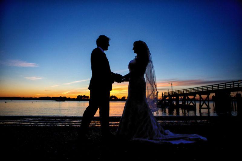 Peaks island sunset at inn on peaks wedding