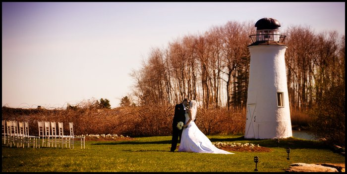 Nonantum Resort lighthouse with bride and groom