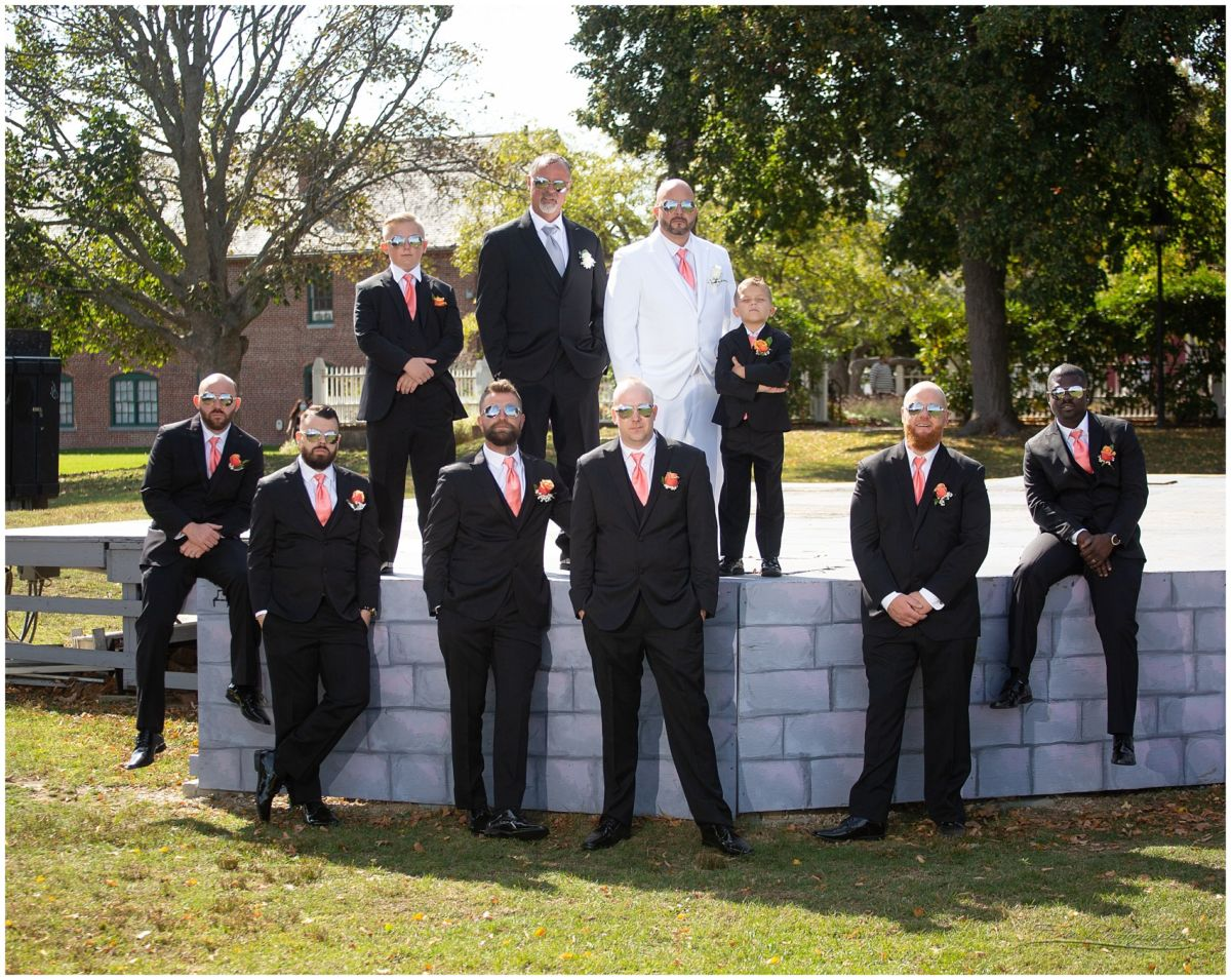 groomsmen picture in Prescott park