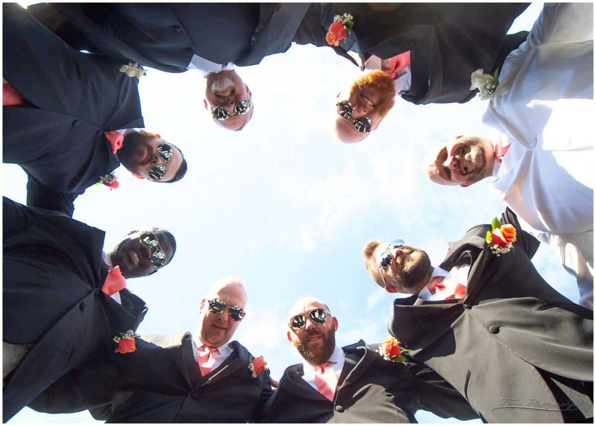 groomsmen viewed from below