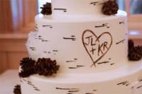 Birch bark wedding cake with edible pine cones