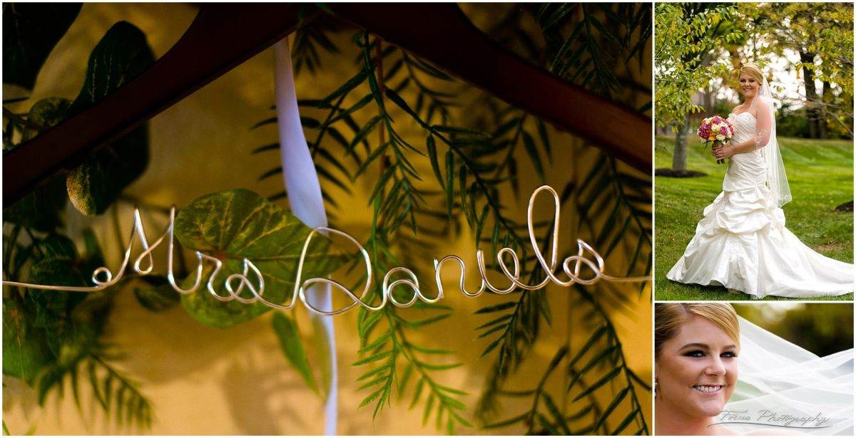 Wedding pictures from the Red Barn at Outlook Farm, bride's name on hanger in wire art