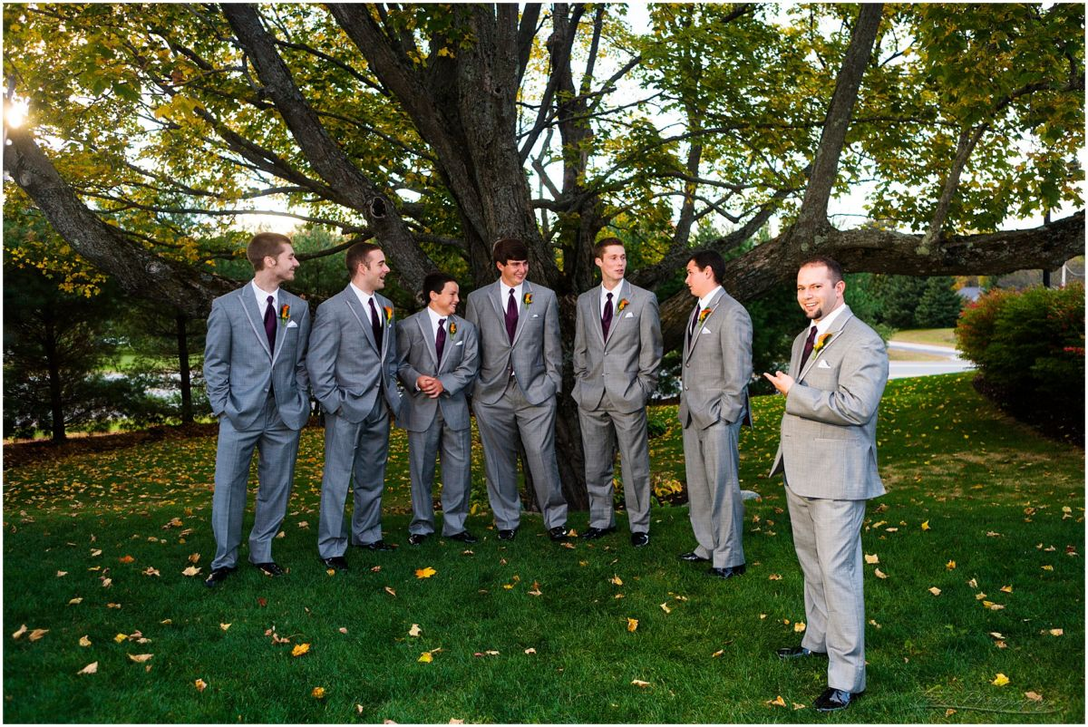 Wedding pictures from the Red Barn at Outlook Farm, groom and his men