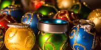 Wedding rings on Christmas bulbs