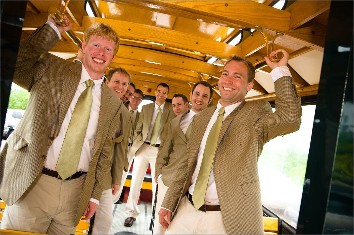 Wentworth by the Sea Wedding Photography groomsmen on trolley to church